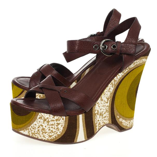 Miu Miu Brown Leather Platform Wedge Sandals Size 38