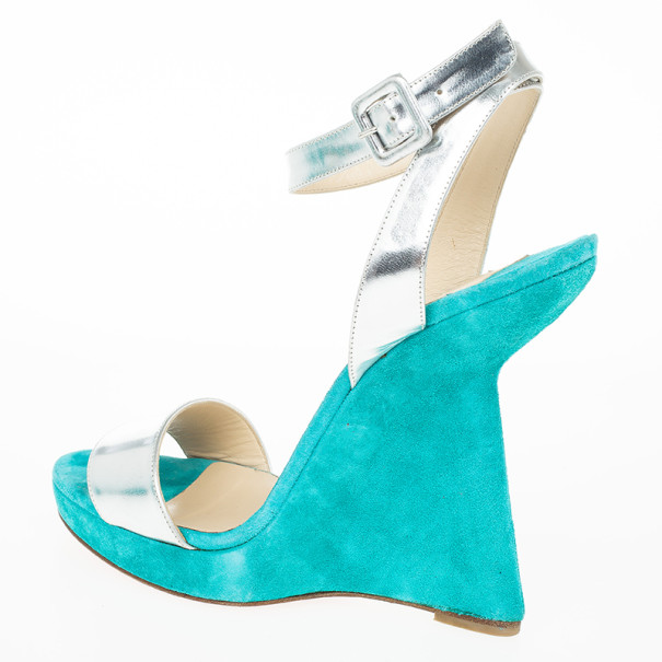 Christian Louboutin Djaldos Spechio Colorblock Ankle Strap Wedges Size 40