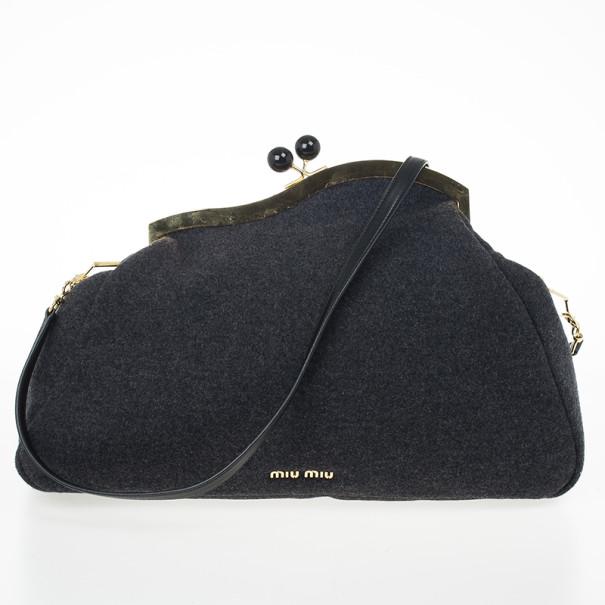 Miu Miu Grey Wool Felt Oversized Clutch