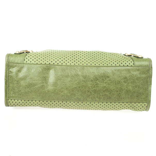 Balenciaga Green Perforated Classic Gold City Bag