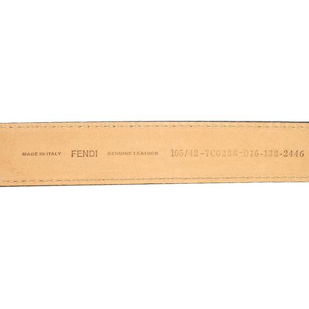 Fendi Brown Leather Striped Enamel Sliding Buckle Belt 105 CM
