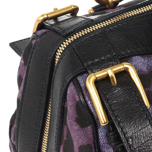 Dolce and Gabbana Purple Leopard 'Miss Easy Way' Boston Bag