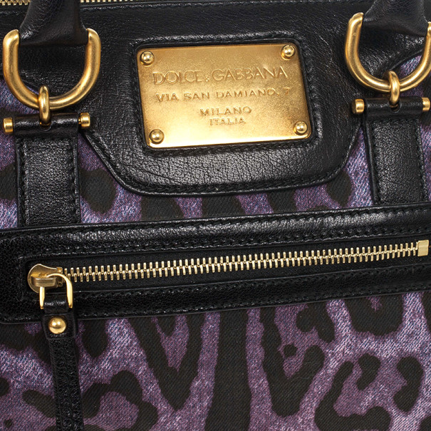 Dolce and Gabbana Purple Leopard 'Miss Easy Way' Boston Bag
