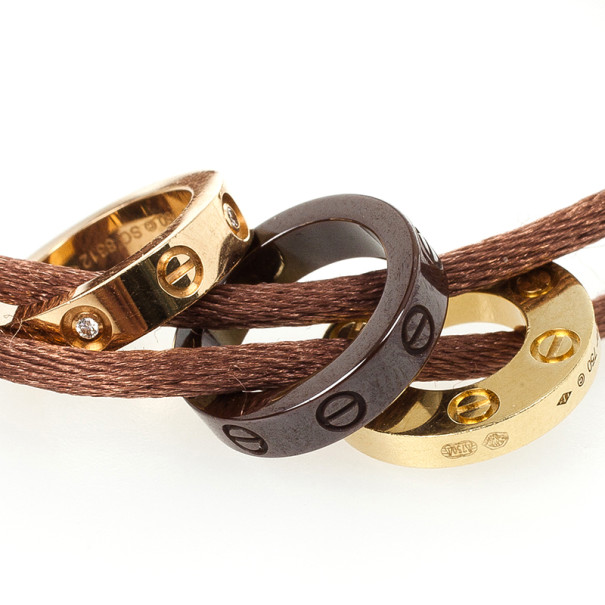 Cartier Love Diamond Ceramic Gold Bracelet with Silk Cord