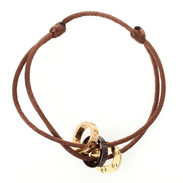 Cartier Love Diamond Ceramic Gold Bracelet with Silk Cord