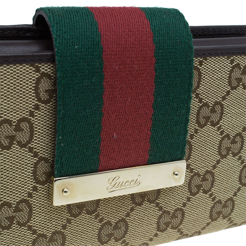 Gucci Beige Monogram Canvas Web Detail Continental Wallet