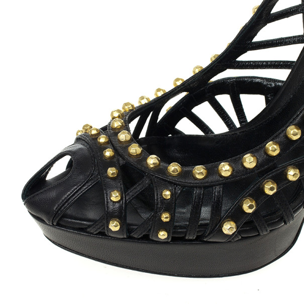 Alexander McQueen Black Cutout Studded Pumps Size 41