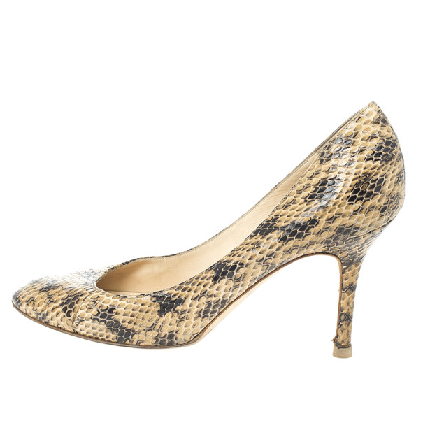 Jimmy Choo Snakeskin Leather Pumps Size 38.5