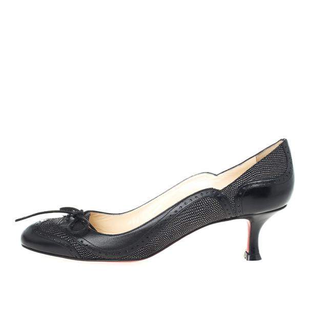 Christian Louboutin Black Leather Lady Twist Pumps Size 38