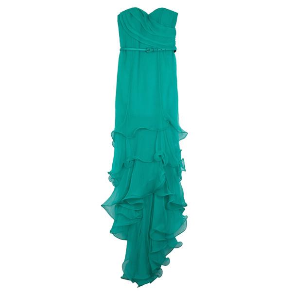 Oscar de la Renta Sweetheart Bodice Ruffled Hem Long Gown L