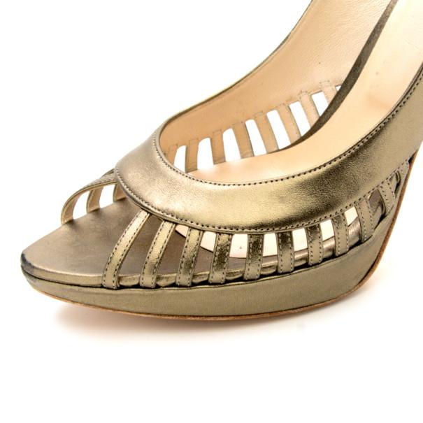 Christian Dior Bronze Metallic Whisper Slingback Sandals Size 41