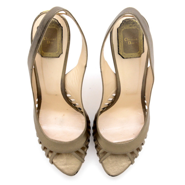 Christian Dior Bronze Metallic Whisper Slingback Sandals Size 41