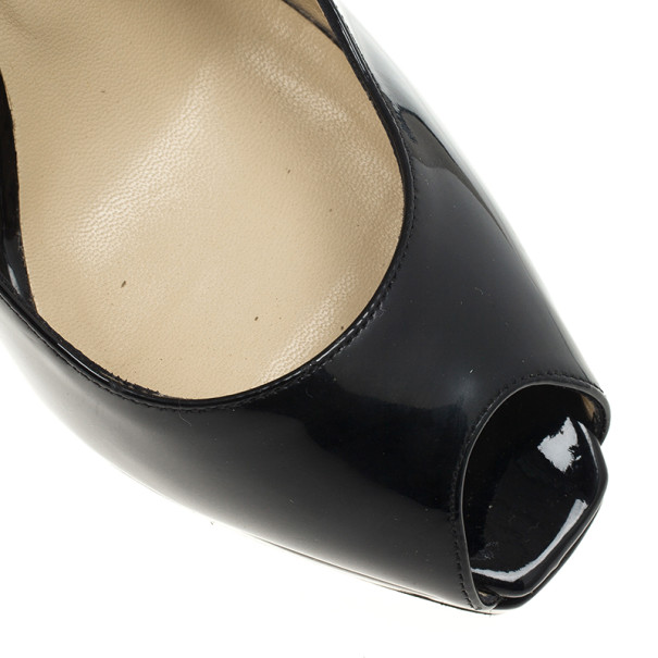 Jimmy Choo Black Patent Clue Peep Toe Slingback Sandals Size 38