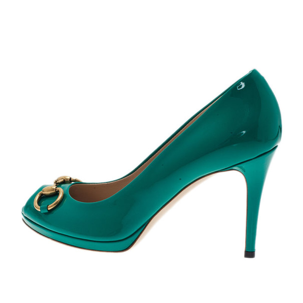 Gucci Turquoise Patent New Hollywood Horsebit Peep Toe Pumps Size 38.5