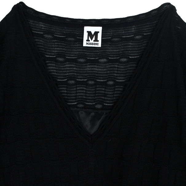 M Missoni Black Checkered Kaftan Dress XXL
