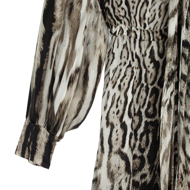 Roberto Cavalli Animal Print Silk Maxi Dress L