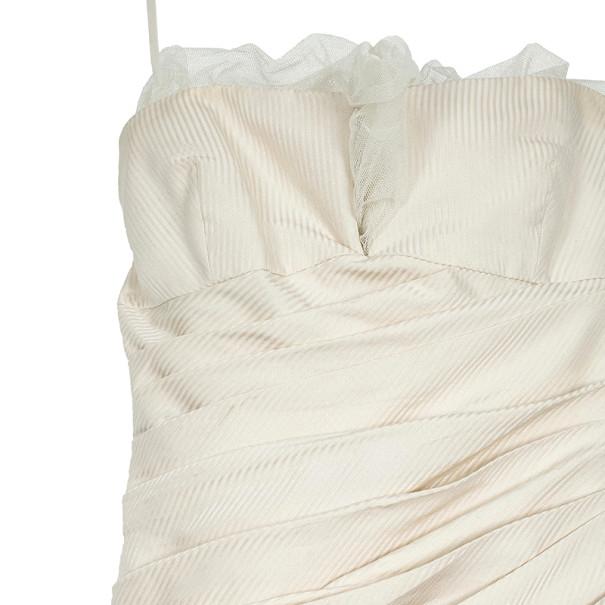Vera Wang Pleated White Wedding Dress L