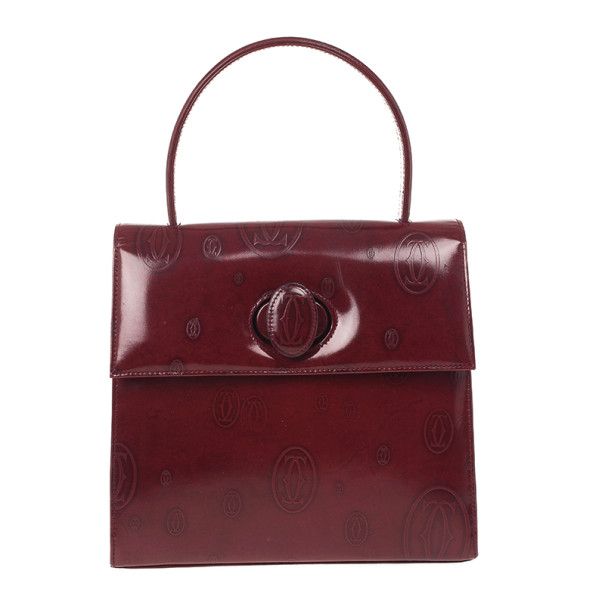Cartier Burgundy 'Happy Birthday' Top Handle Bag
