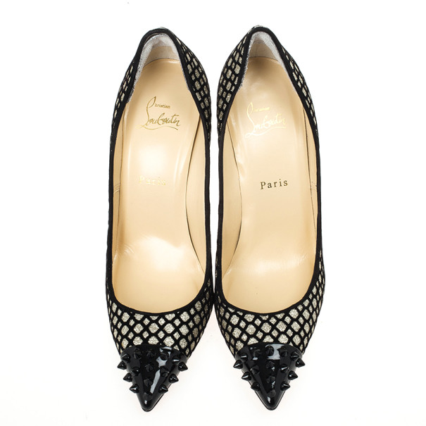 Christian Louboutin Floque Glitter Spike Geo 100mm Pumps Size 39.5