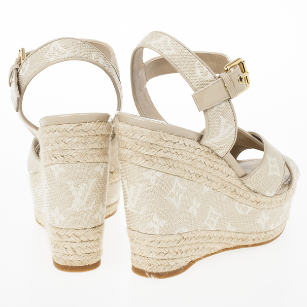 Louis Vuitton Beige Monogram Denim Formentera Espadrilles Wedge Sandals Size 39.5