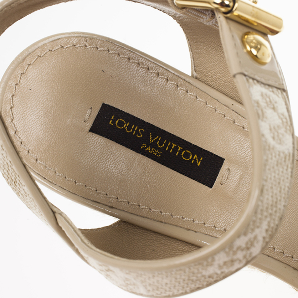 Louis Vuitton Beige Monogram Denim Formentera Espadrilles Wedge Sandals Size 39.5