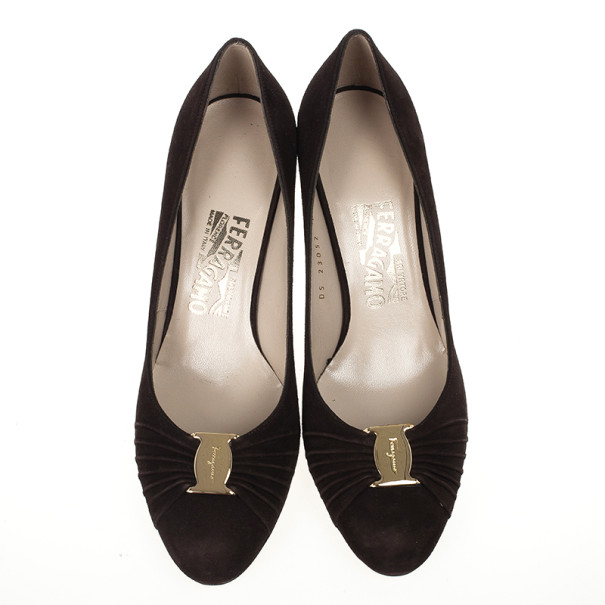 Salvatore Ferragamo Brown Suede Cady Pumps Size 38.5