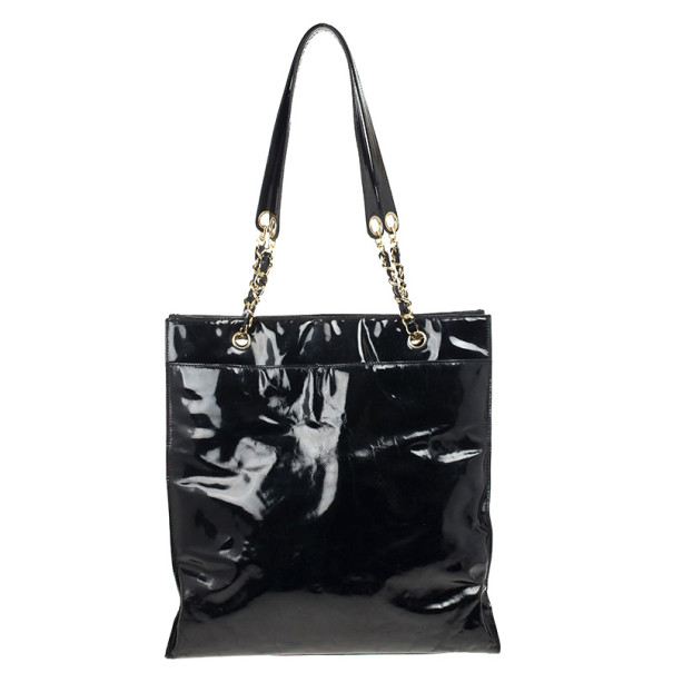 Chanel Black Patent Leather CC Logo Jumbo Shopping Tote Bag