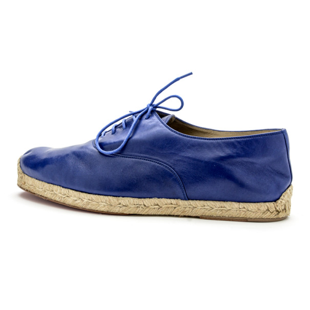 Christian Louboutin Blue Leather Lace Up Espadrilles Size 42