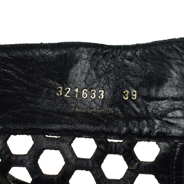 Alexander McQueen Metallic Honeycomb Plexiglass Wedge Booties Size 39