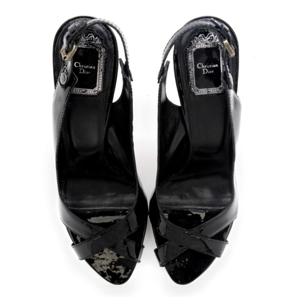 Christian Dior Black Patent Extreme Slingback Sandals Size 41.5