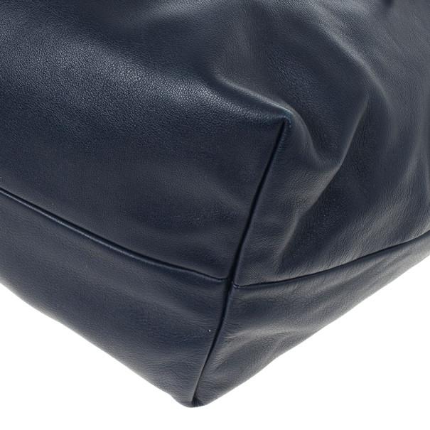 Prada Navy Calf Skin Zipper Tote