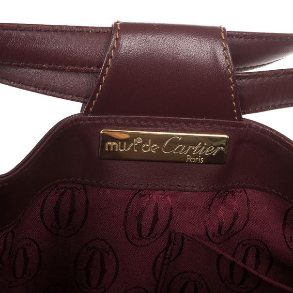 Cartier Burgundy Leather Bucket Bag