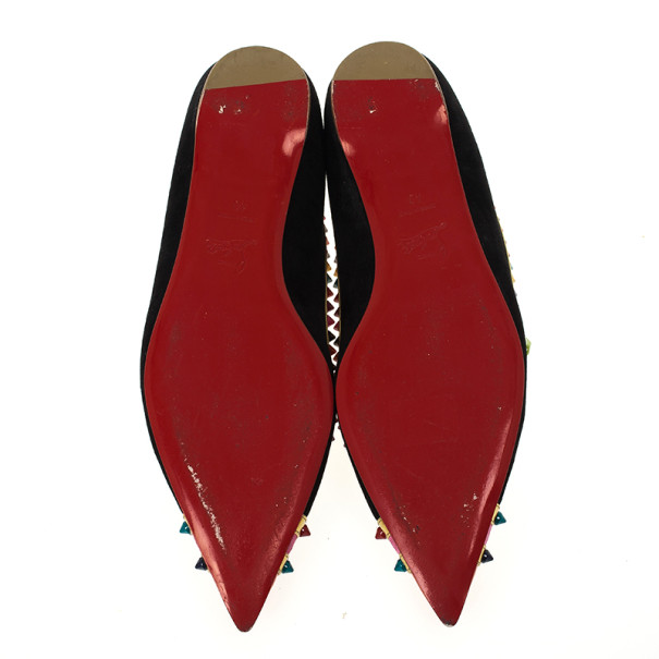 Christian Louboutin Black Suede Malabar Hill Spikes Ballet Flats Size 40