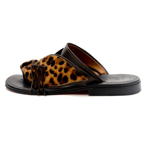 Christian Louboutin Leopard Pony Hair Suctam Flats Size 45