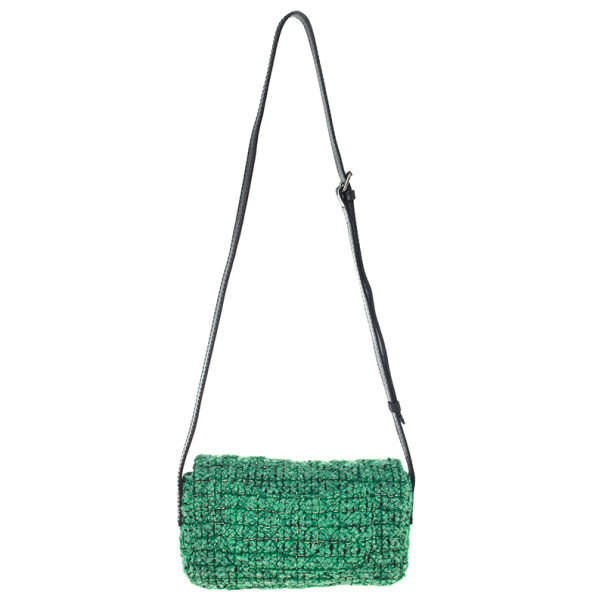 Chanel Green Easy Tweed Medium Flap