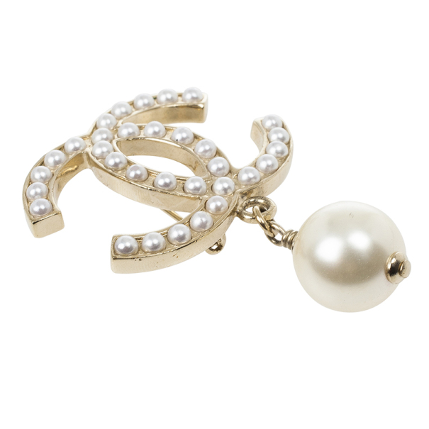 Chanel CC Pearl Drop Brooch