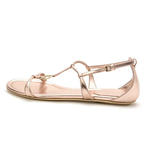Gucci Rose Gold Leather Logo Charm Strappy Sandals Size 37