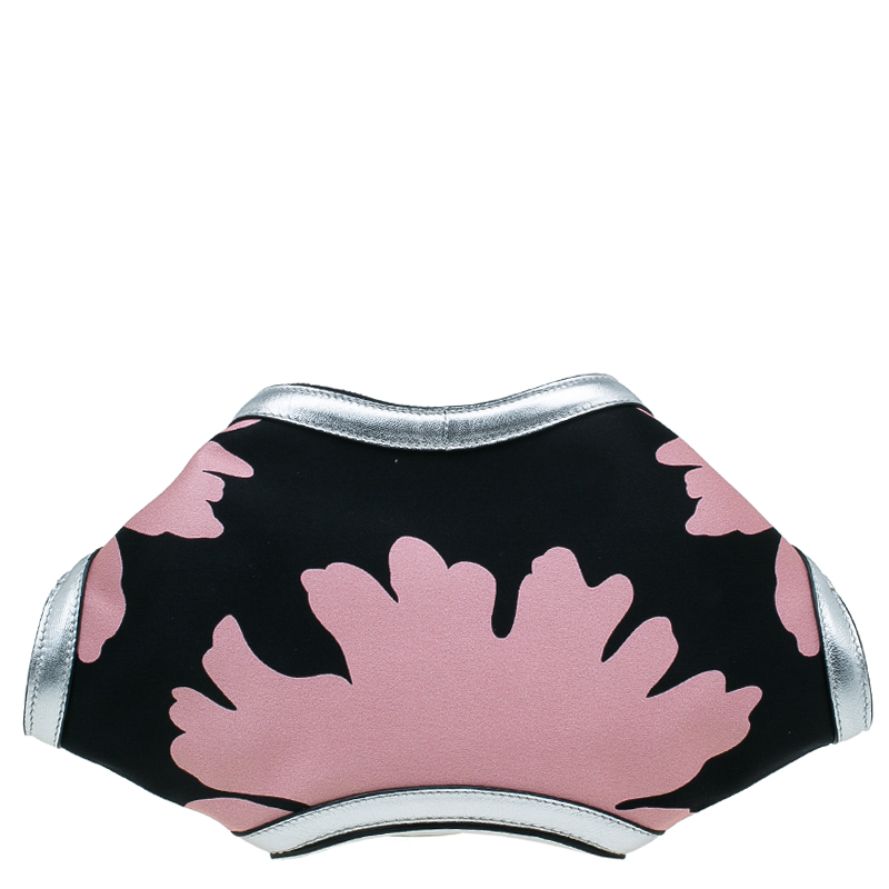 Alexander McQueen Black/Pink Satin Small Floral De Manta Clutch