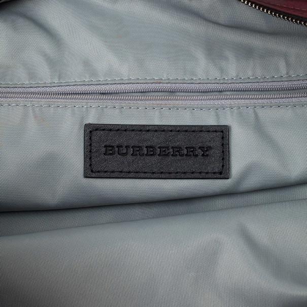Burberry Burgundy Nova Check Nylon Tote