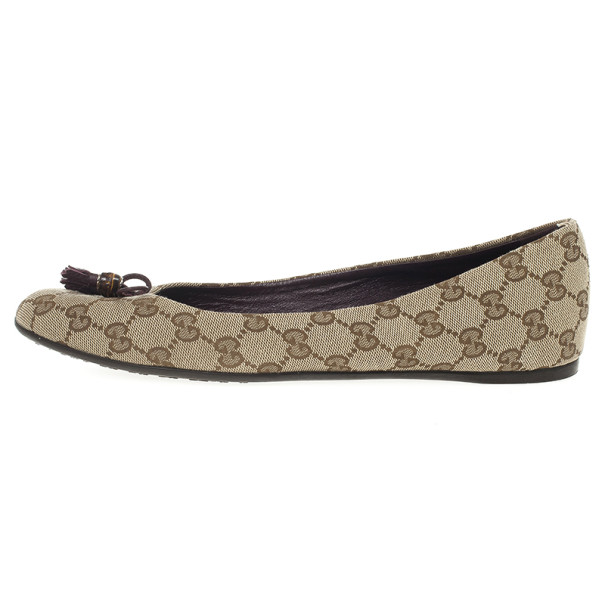 Gucci Guccissima Canvas Bamboo Tassel Ballet Flats Size 41