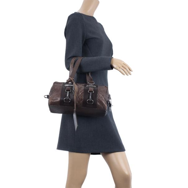 Balenciaga Brown Leather Hook Tote MM Bag