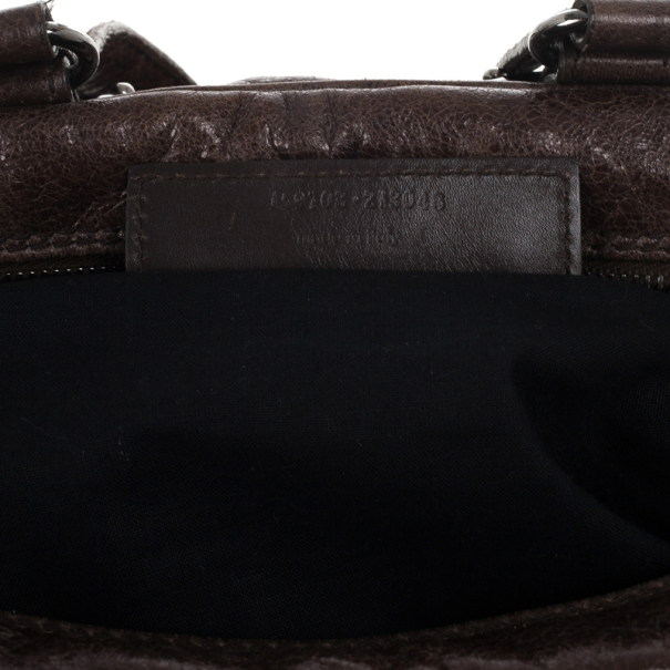 Balenciaga Brown Leather Hook Tote MM Bag