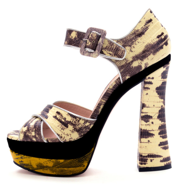 Miu Miu Grey Snakeskin Platform Sandals Size 38