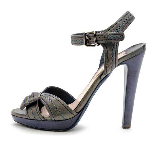 Miu Miu Grey Leather Bow Platform Sandals Size 38