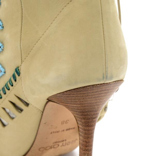 Jimmy Choo Beige Suede Embellished 'Zanzibar' Cut-Out Booties Size 38