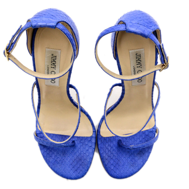 Jimmy Choo Blue Snakskin Thunder Sandals Size 39