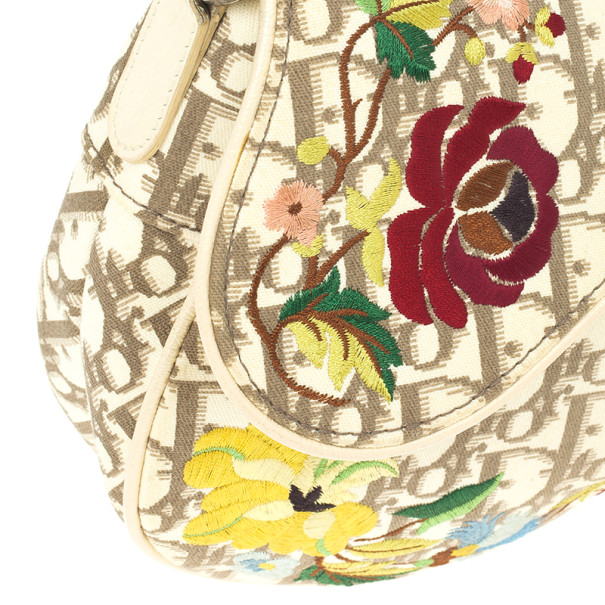 Christian Dior Ivory Monogram Romantique Saddle Bag