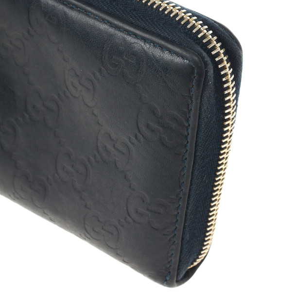 Gucci Black Guccissima Zip Around Bamboo Tassel Wallet