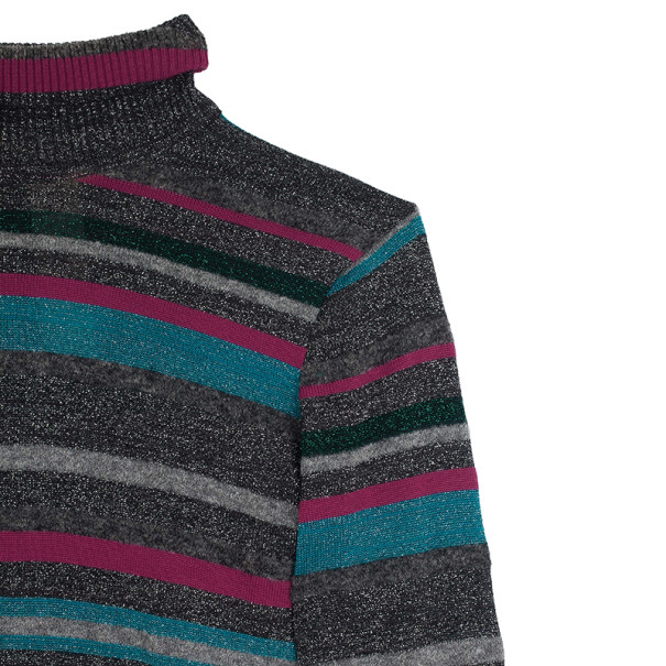 Kenzo Knit Striped Turtle Neck Top L