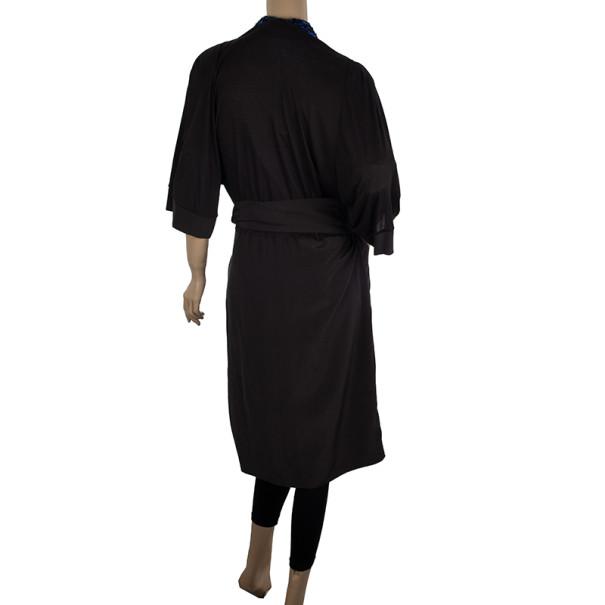 Max Mara Black Wrap Silk Dress L